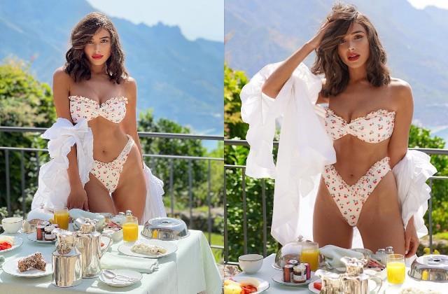 olivia culpo enjoys breakfast in bikini look