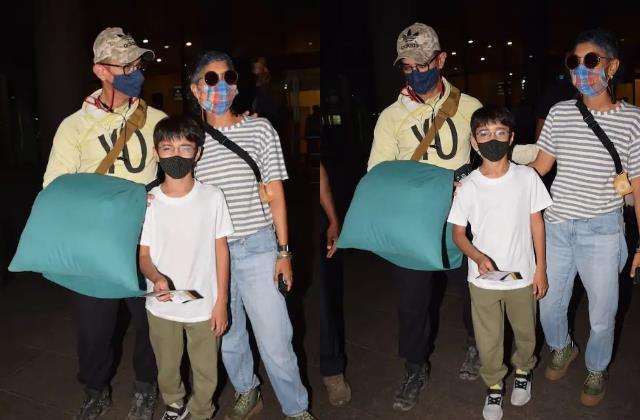 ex wife kiran rao arrives to pick up aamir khan and son azad at airport