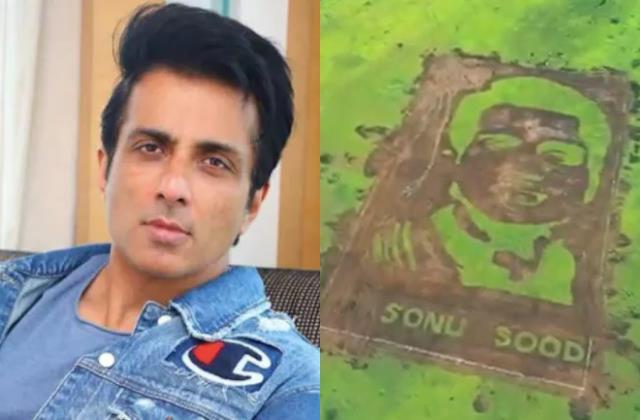 sonu sood fan vipul manjrekar create 50000 sq feet portrait of actor in solapur