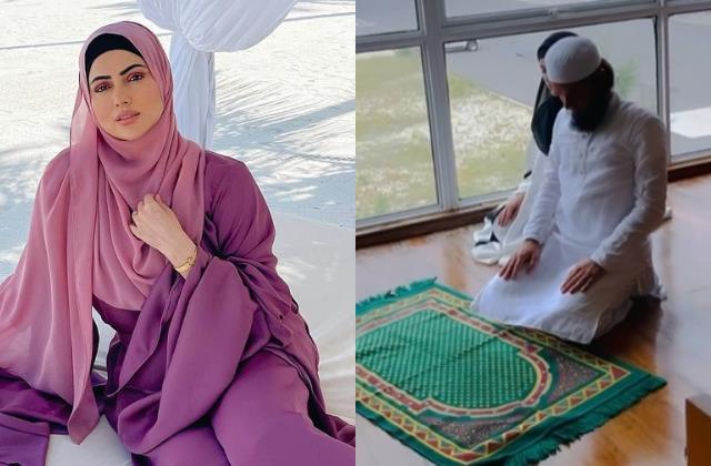 sana khan offer namaz at airport and enjoy vacation in maldives with husband