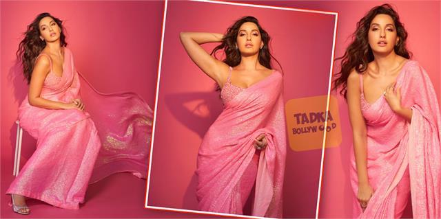 nora fatehi looks stunning in pink saree