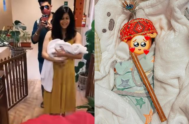 kishwer receives special welcome s she arrives home with new born baby