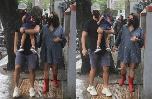pregnant neha spotted with husband angad and daughter mehr outside cafe