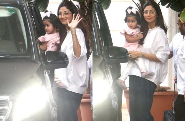 shilpa shetty spotted with daughter samisha outside home
