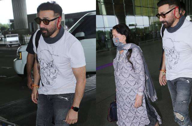 dharmendra first wife prakash kaur spotted at airport with son sunny deol