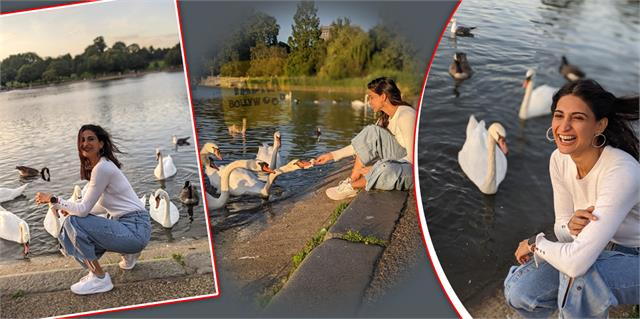 aahana kumra fun with swans photos viral