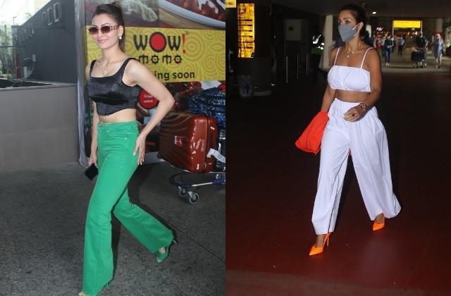 urvashi rautela and malaika arora spotted at airport
