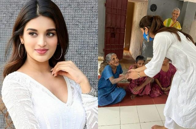 nidhi aggarwal celebrated her 26th birthday in old age home