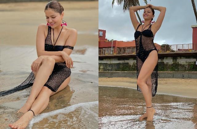 rubina dilaik looked hot in black bikini