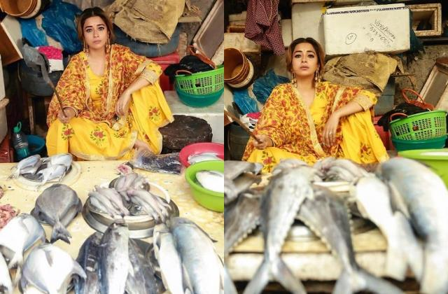 tina dutta selling fishes in fish market pictures viral