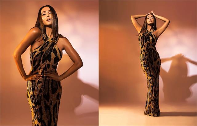 malaika arora looks bold in animal print dress