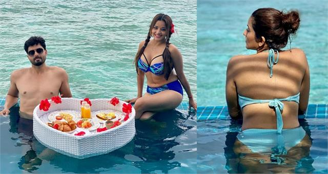 monalisa enjoy vacation with hubby in maldives