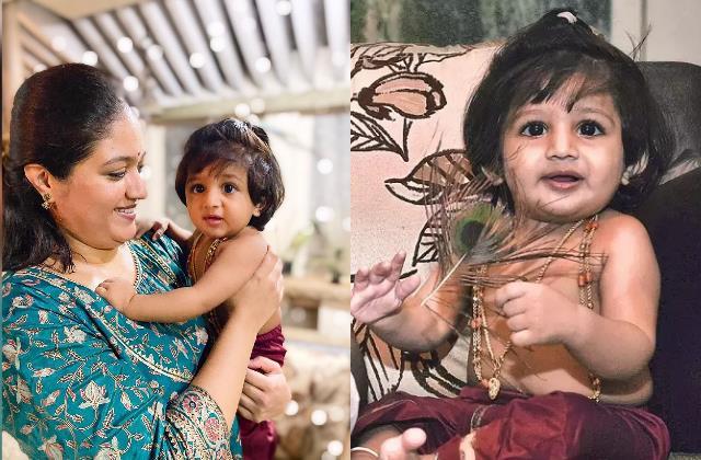 meghana raj shares an adorable pic of jr chiru as krishna