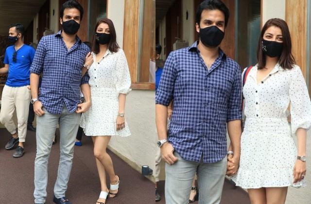 kajal aggarwal reached the restaurant with husband gautam kitchlu