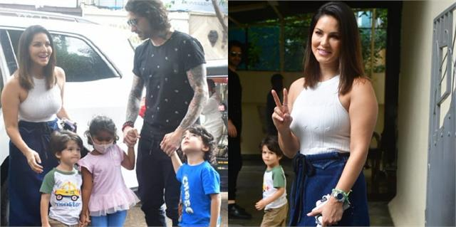 sunny leone reached the cafe with husband and children