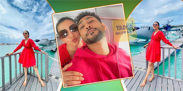 gauahar enjoying maldives vacation with her husband zaid