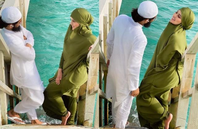 sana khan shares photos with husband anas saiyad from maldives