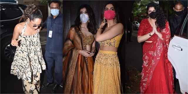 shanaya khushi anshula and other arriving anil kapoor daughter riya wedding