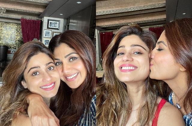 shamita shetty back after bigg boss ott shilpa shetty welcomes sister with kiss