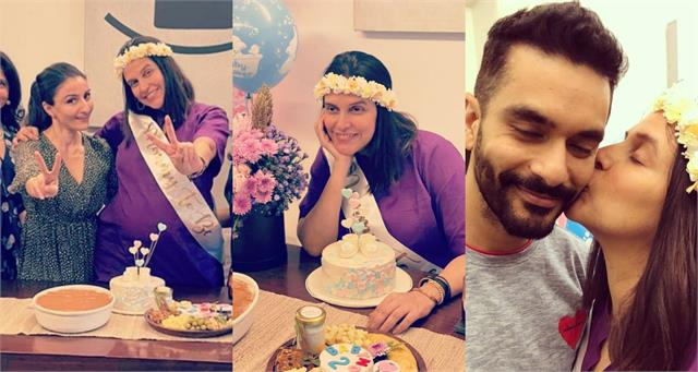 neha dhupia share pictures from her surprise baby shower