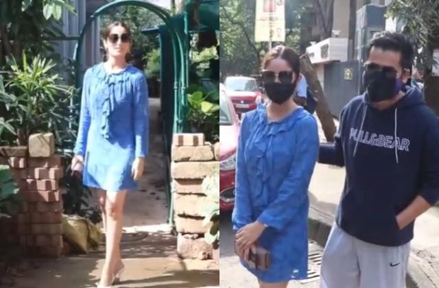 yami gautam first time carry western look marriage as she spotted with hubby