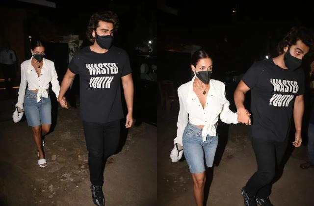 malaika arora hold boyfriend arjun kapoor and as both enjoyed a dinner date