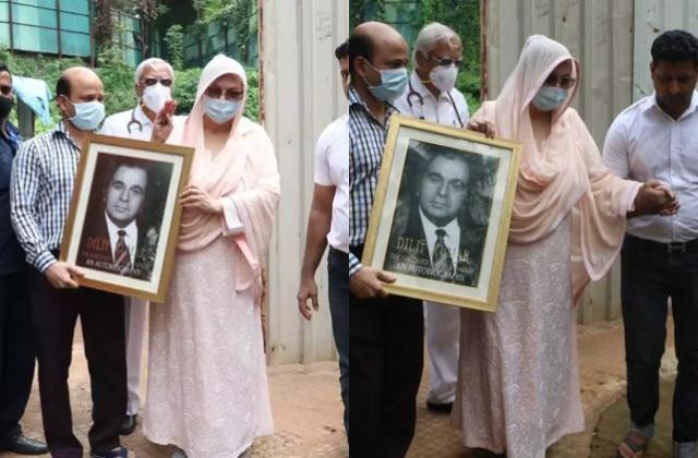 saira banu first public appearance dilip kumar death hold late actor photo