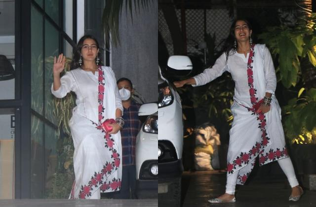 sara ali khan looks beautiful in white churidar suit