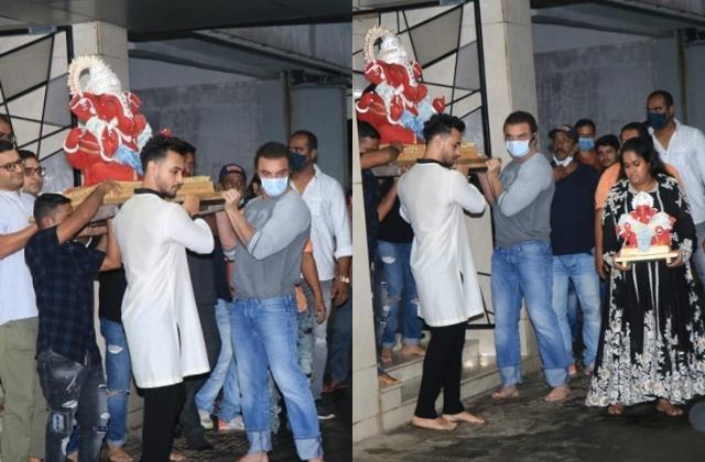 salman khan sister arpita khan perform ganpati visarjan with hubby ayush sharma