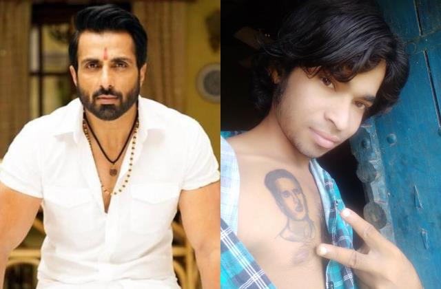 fan inks sonu sood picture on his chest calls him god