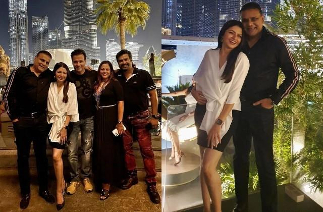 bhagyashree enjoying vacation with husband himalaya dasani and friends in dubai