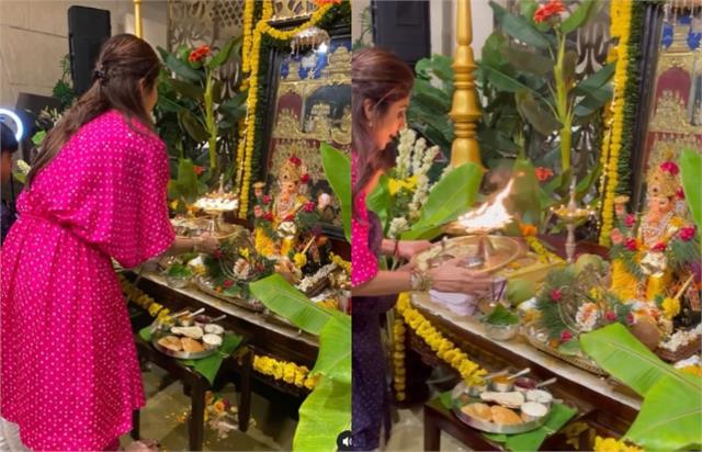 shilpa shetty performed ganpati bappa aarti with son viaan