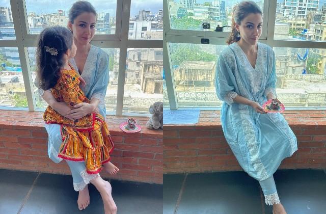 soha ali khan celebrated ganesh chaturthi with daughter inaaya