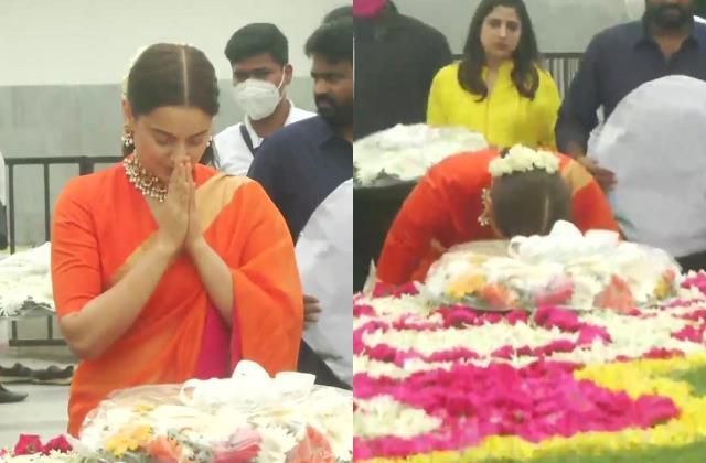 kangana ranaut visits late jayalalithaa memorial before thalaivi release