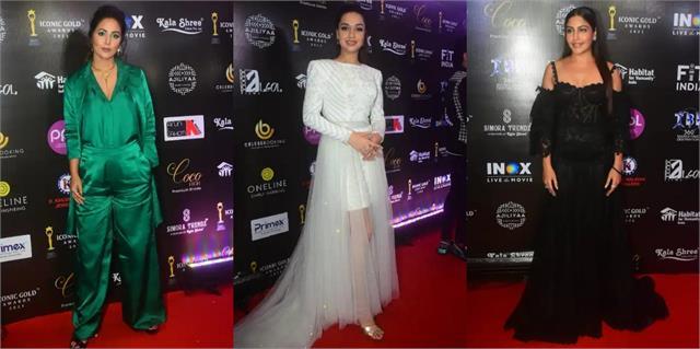 surbhi chandna hina khan divya agarwal stuns at iconic gold awards 2021