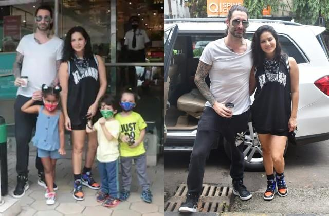 sunny leone spotted with family in mumbai