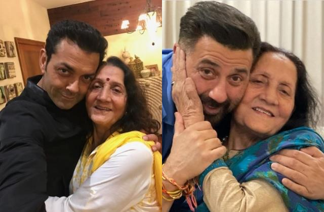 sunny deol bobby deol share adorable pictures with their mother on her birthday