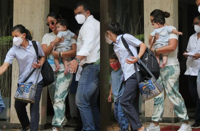 kareena kapoor spotted with her kids jeh and taimur
