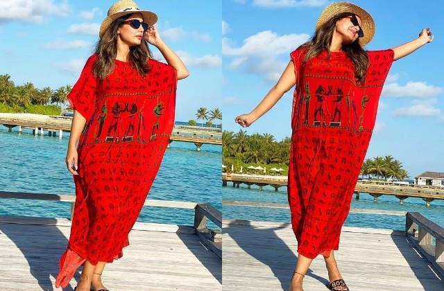hina khan enjoys vacation in maldives photos viral