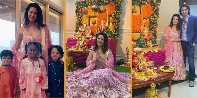 sunny leone celebrates ganesh chaturthi with family