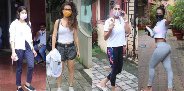 fatima kubra sait malaika and janhvi spotted outside the gym