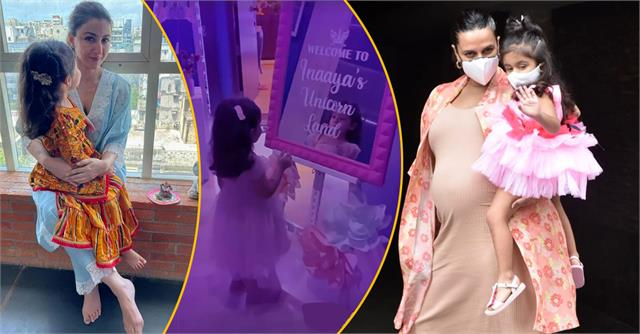 neha dhupia attend soha ali khan daughter inaya birthday party