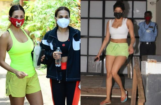 malaika was spotted with rajinikanth daughter jahnvi looks bold in shorts