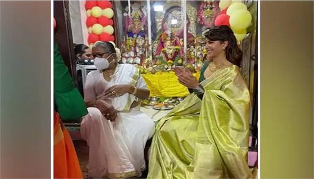 jacqueline fernandez in saree celebrates ganesh festival with a kinnar trust