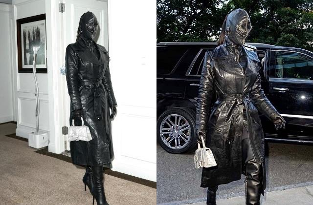 kim kardashian photoshoot wearing a leather outfit from head to toe