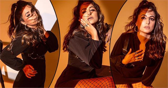 hina khan looks glamorous look in black dress