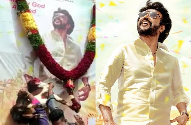 rajinikanth fans anointed  annaatthe  poster with blood by sacrificing goat