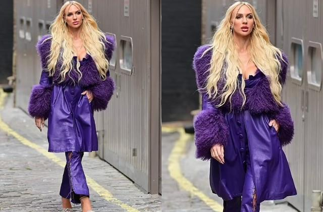 christine quinn looks gorgeous in purple attire