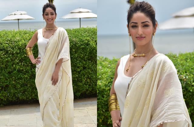 yami gautam gave a twist to the saree look by wearing a tank top