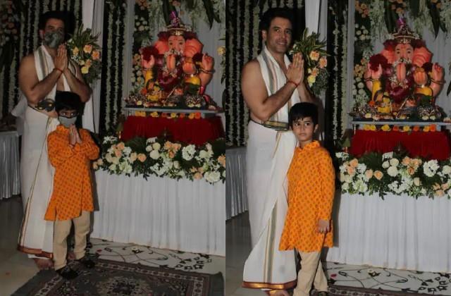 tusshar kapoor ganpati pooja with son lakshya at his house